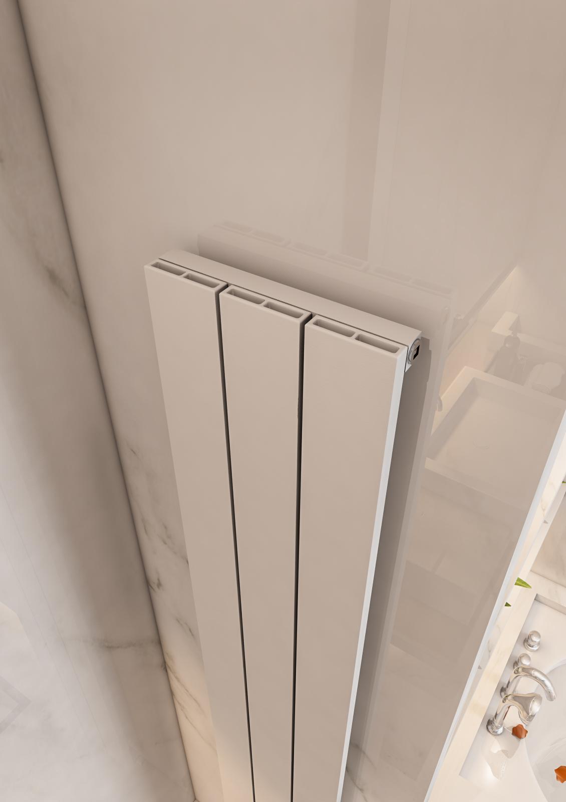 Eastbrook Charlton verticale aluminium radiator 180x47cm Mat wit 1441 watt