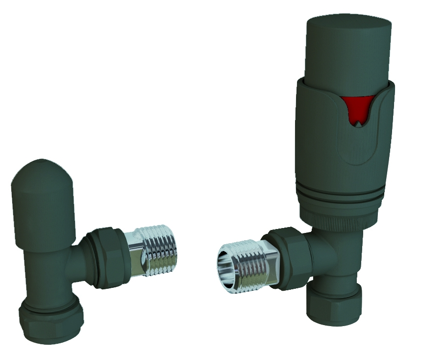 Eastbrook Valve radiator aansluitset haaks met thermostaat antraciet