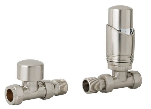 Eastbrook Valve radiator aansluitset recht met thermostaat RVS