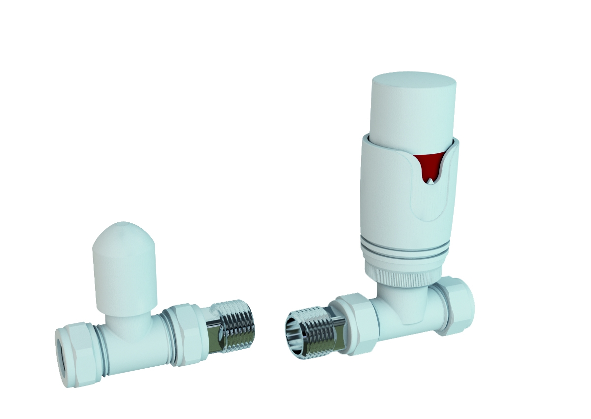 Eastbrook Valve radiator aansluitset recht met thermostaat wit