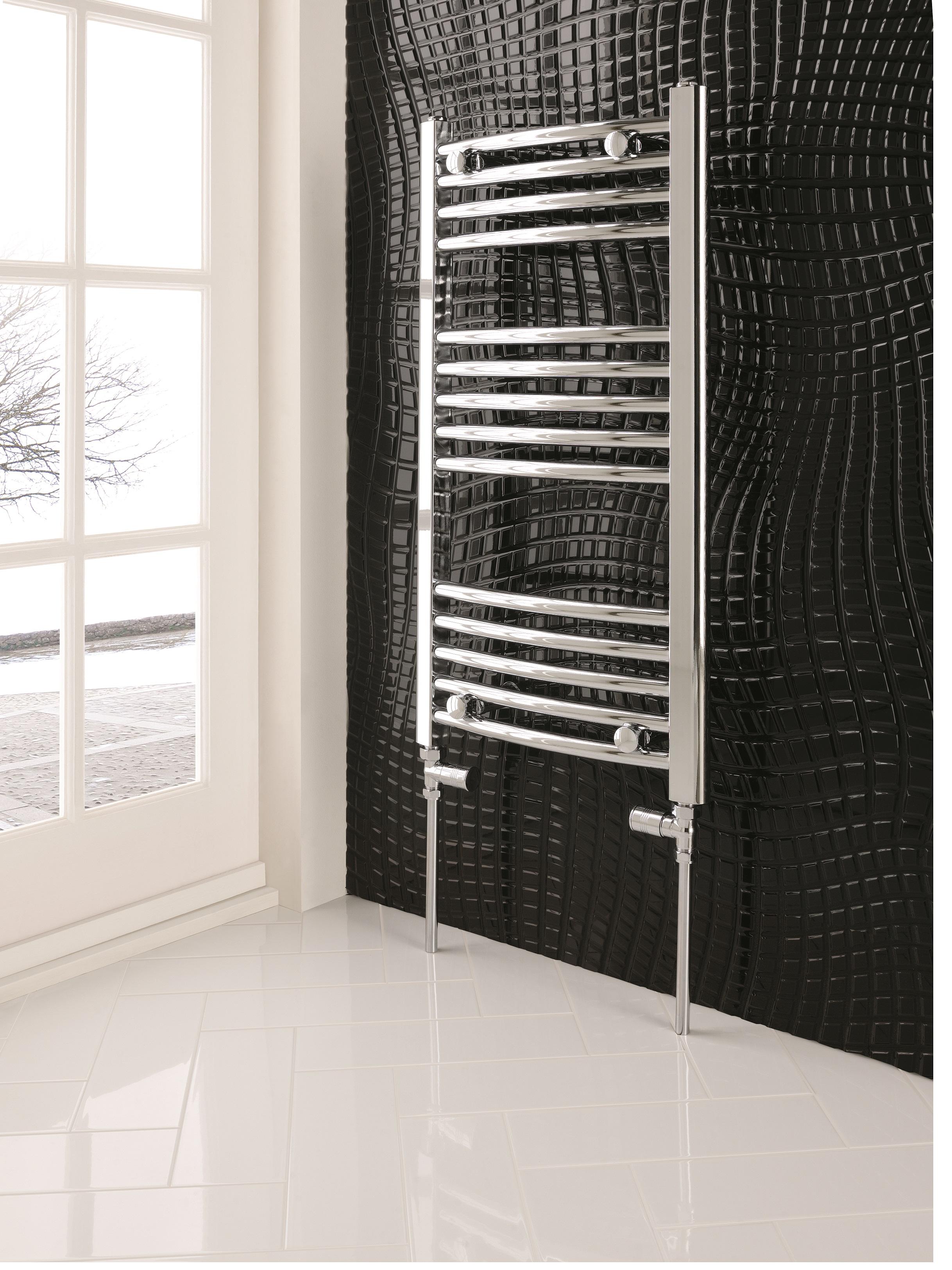 Eastbrook Wendover gebogen horizontale radiator 60x75cm Chroom 250 watt