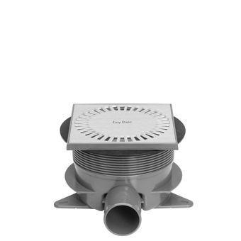 Easy Drain Aqua Briljant vloerput m. ABS sifonhuis en inbouwdeel m. zij- en onderuitlaat 15x15cm inb