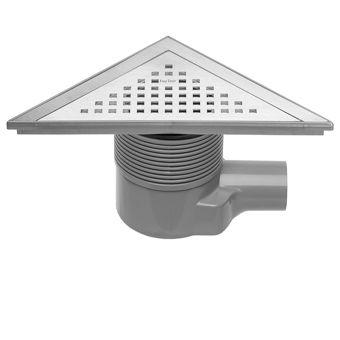 Easy Drain Aqua Delta vloerput driehoekig m. ABS afwerkdeel/RVS rooster en zijuitlaat 22x22cm inbouw
