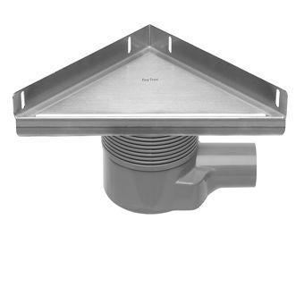 Easy Drain Aqua Plus Delta vloerput driehoekig m. RVS afwerkdeel/RVS flens/RVS Zero rooster/ zijuitl