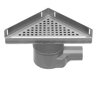Easy Drain Aqua Plus Delta vloerput driehoekig m. RVS afwerkdeel/RVS rooster/RVS flens en zijuitlaat