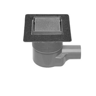 Easy Drain Aqua Plus Quattro Tegel vloerput m. RVS afwerkdeel/RVS betegelbaar rooster en zijuitlaat 10x10cm inbouwdiepte 75-111mm m. waterslot 50 tot 25mm