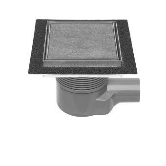 Easy Drain Aqua Plus Quattro Tegel vloerput m. RVS afwerkdeel/RVS betegelbaar rooster en zijuitlaat