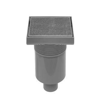 Easy Drain Aqua Quattro Tegel vloerput m. ABS afwerkdeel/RVS betegelbaar rooster en onderuitl. 15x15