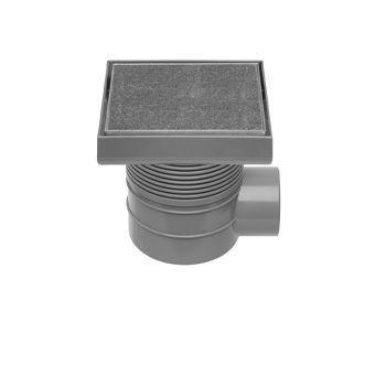 Easy Drain Aqua Quattro Tegel vloerput m. ABS afwerkdeel/RVS betegelbaar rooster en zijuitlaat 15x15