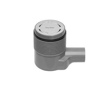Easy Drain Aqua Round vloerput m. ABS afwerkdeel m. RVS rooster en zijuitlaat Ø10cm inbouwdiepte 65-