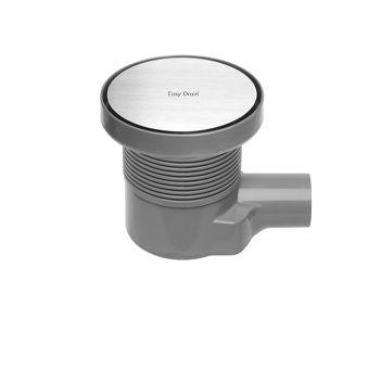 Easy Drain Aqua Round vloerput m. ABS afwerkdeel m. RVS rooster en zijuitlaat Ø15cm inbouwdiepte 72-108mm m. waterslot 50 tot 25mm