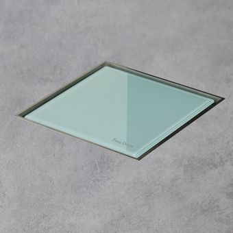 Easy Drain AquaJewels Quattro glas glans 10x10cm m. zijuitloop 50mm m. waterslot 30/35/50mm groen