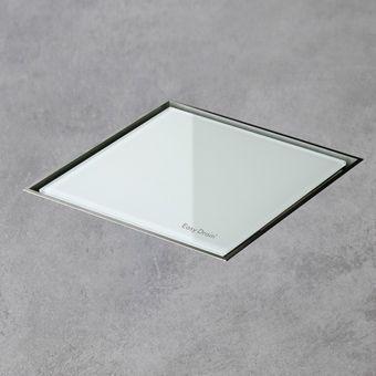 Easy Drain AquaJewels Quattro glas glans 10x10cm m. zijuitloop 50mm m. waterslot 30/35/50mm wit