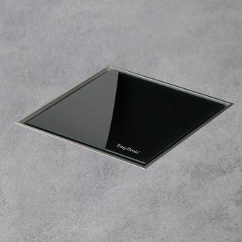 Easy Drain AquaJewels Quattro glas glans 15x15cm m. zijuitloop 50mm m. waterslot 30/35/50mm zwart
