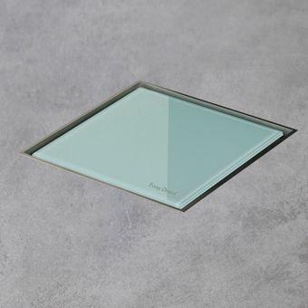 Easy Drain AquaJewels Quattro glas glans 20x20cm m. zijuitloop 50mm m. waterslot 30/35/50mm groen