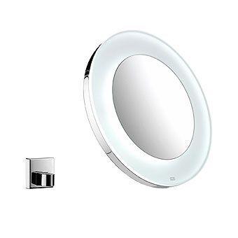 Emco scheerspiegel rond met LED verlichting 26.5cm m. wandhouder chroom