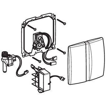 Geberit Basic urinoir stuursysteem infrarood netvoeding 16x16cm voor frontbediening mat verchroomd