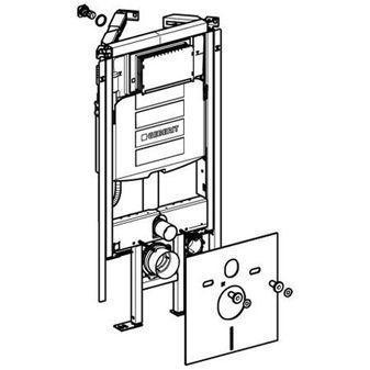 Geberit Duofix WC-hoek element m. Sigma reservoir 12cm (UP320) m. geluidsisolatieset H112cm z. bedie