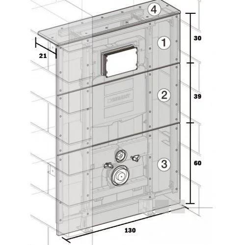Geberit GISeasy gipskartonplaten t.b.v. toiletmodule m. reservoir UP100, UP300 en UP320 front 130x13