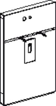 Geberit Monolith wastafel element H114 m. kast links t.b.v. inbouw wandkraan 8cm umbra glas alu