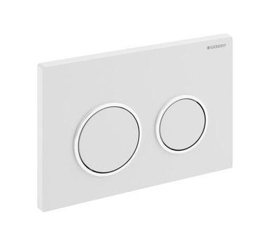 Geberit Omega20 bedieningsplaat Omega20 DF kunststof 21.2x14.2cm boven/frontbediend wit/glans chroom