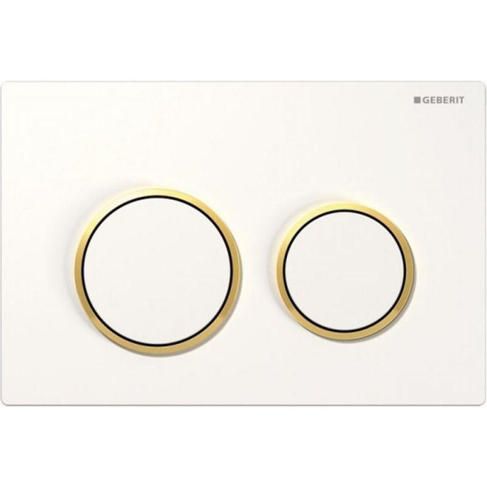 Geberit Omega20 bedieningsplaat Omega20 DF kunststof 21.2x14.2cm boven/frontbediend wit/goud/wit