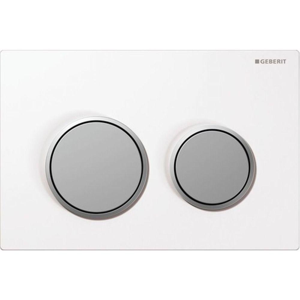 Geberit Omega20 bedieningsplaat Omega20 DF kunststof 21.2x14.2cm boven/frontbediend wit/mat/mat chro