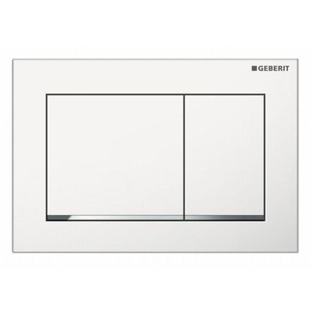 Geberit Omega30 bedieningsplaat Omega30 DF kunststof 21.2x14.2cm boven/frontbediend wit/glans chroom
