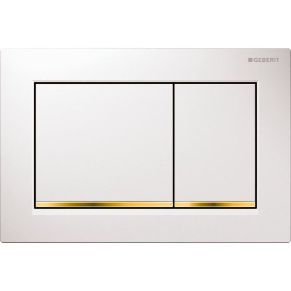 Geberit Omega30 bedieningsplaat Omega30 DF kunststof 21.2x14.2cm boven/frontbediend wit/goud/wit