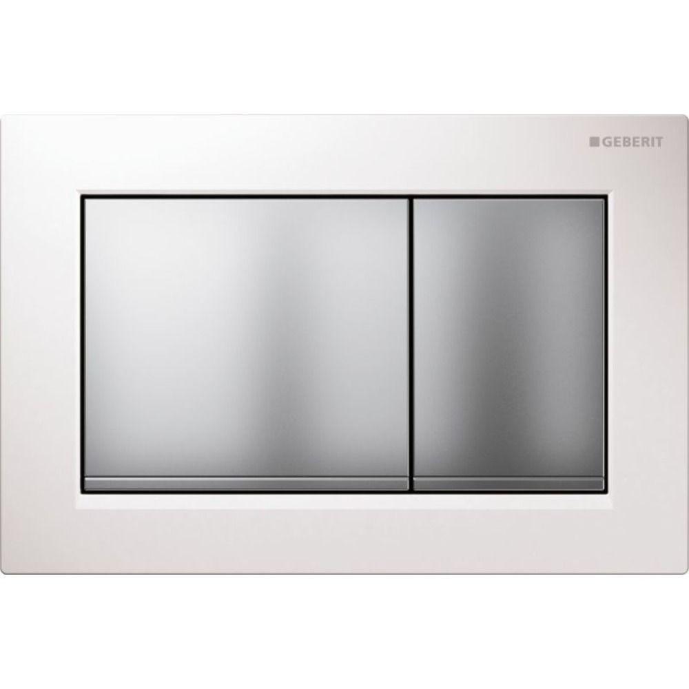 Geberit Omega30 bedieningsplaat Omega30 DF kunststof 21.2x14.2cm boven/frontbediend wit/mat/mat chro