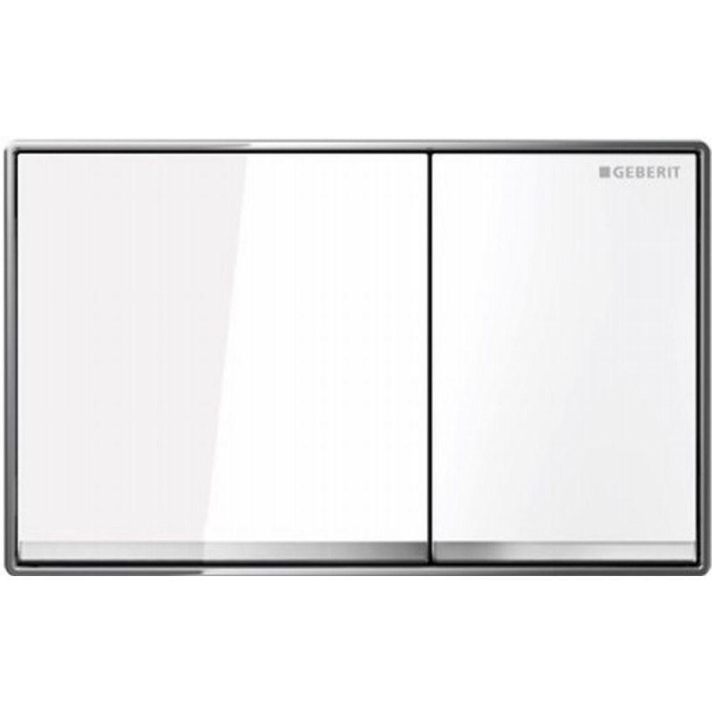 Geberit Omega60 bedieningsplaat Omega60 DF kunststof 18.4×11.4cm frontbediend glas wit