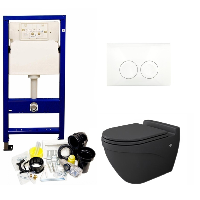 Geberit UP100 toiletset met Taormina Arch mat antraciet toilet en softclose zitting
