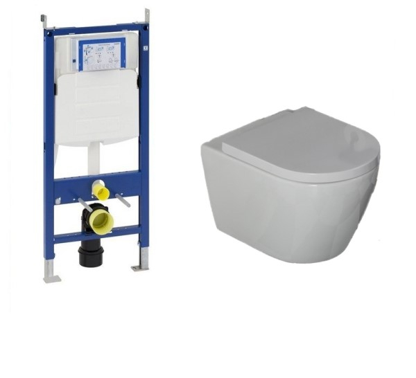 Geberit UP320 toiletset met Saniclear Jama Compact randloos wandcloset incl softclose zitting 48cm d
