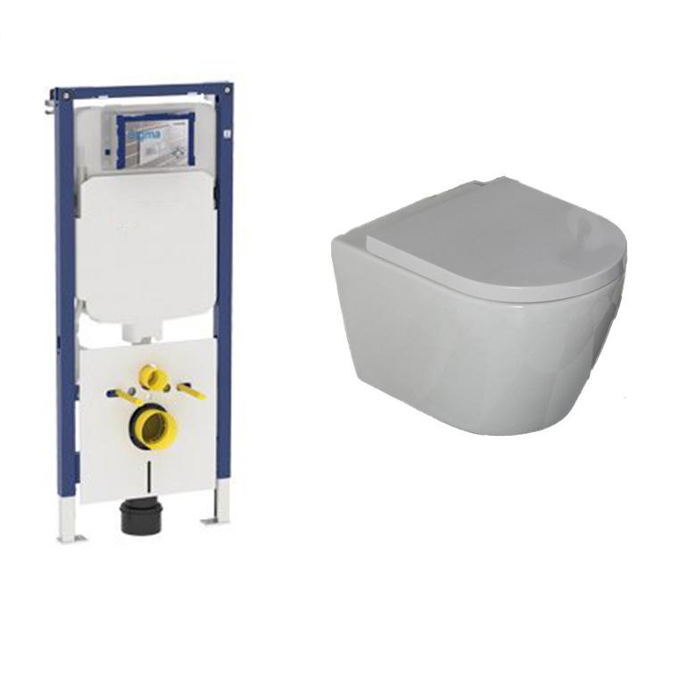 Geberit UP720 toiletset met Saniclear Jama Compact randloos toilet incl softclose zitting