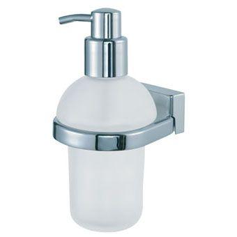 Geesa Bloq zeepdispenser met matglazen inzet chroom