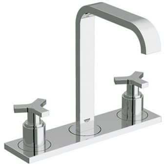 Grohe Allure 3-gats wastafelkraan m. plaat m. waste chroom