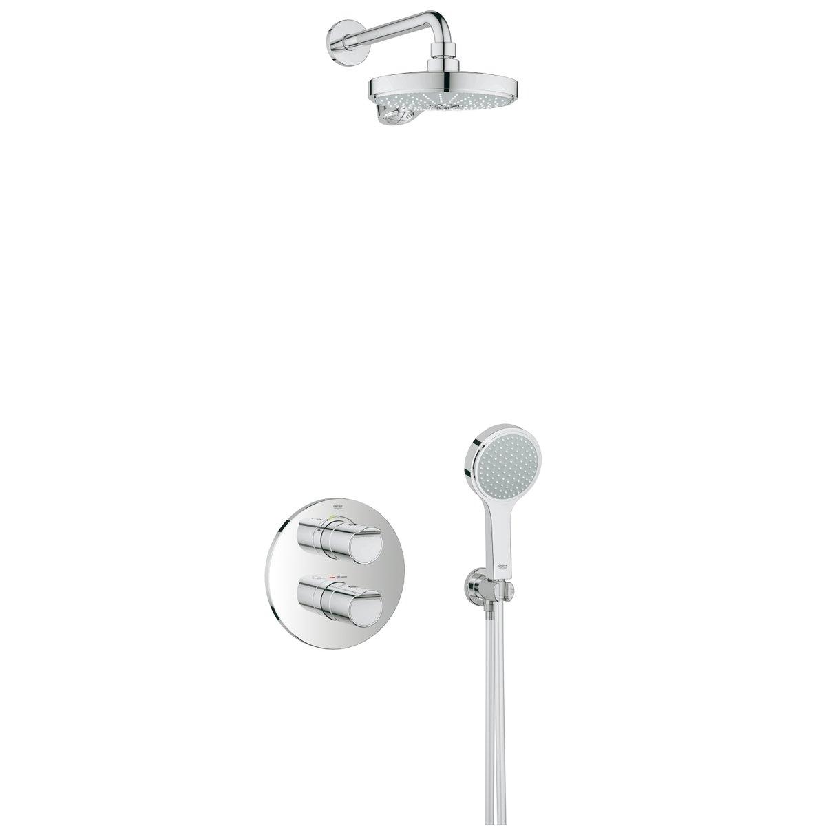 Grohe Grohtherm-2000 Perfect Shower Set m. inbouw douchekraan thermostatisch m. Power & Soul hoofd-