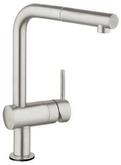 Grohe Minta Touch elektronische keukenkraan m. draaibare L-uitloop m. uittrekbare mousseur en 6V lit