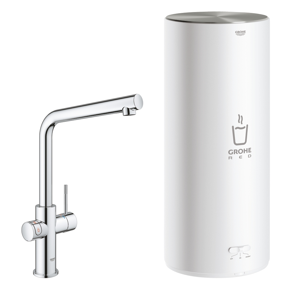 Grohe Red New Duo kokend water kraan met L uitloop en L formaat boiler chroom