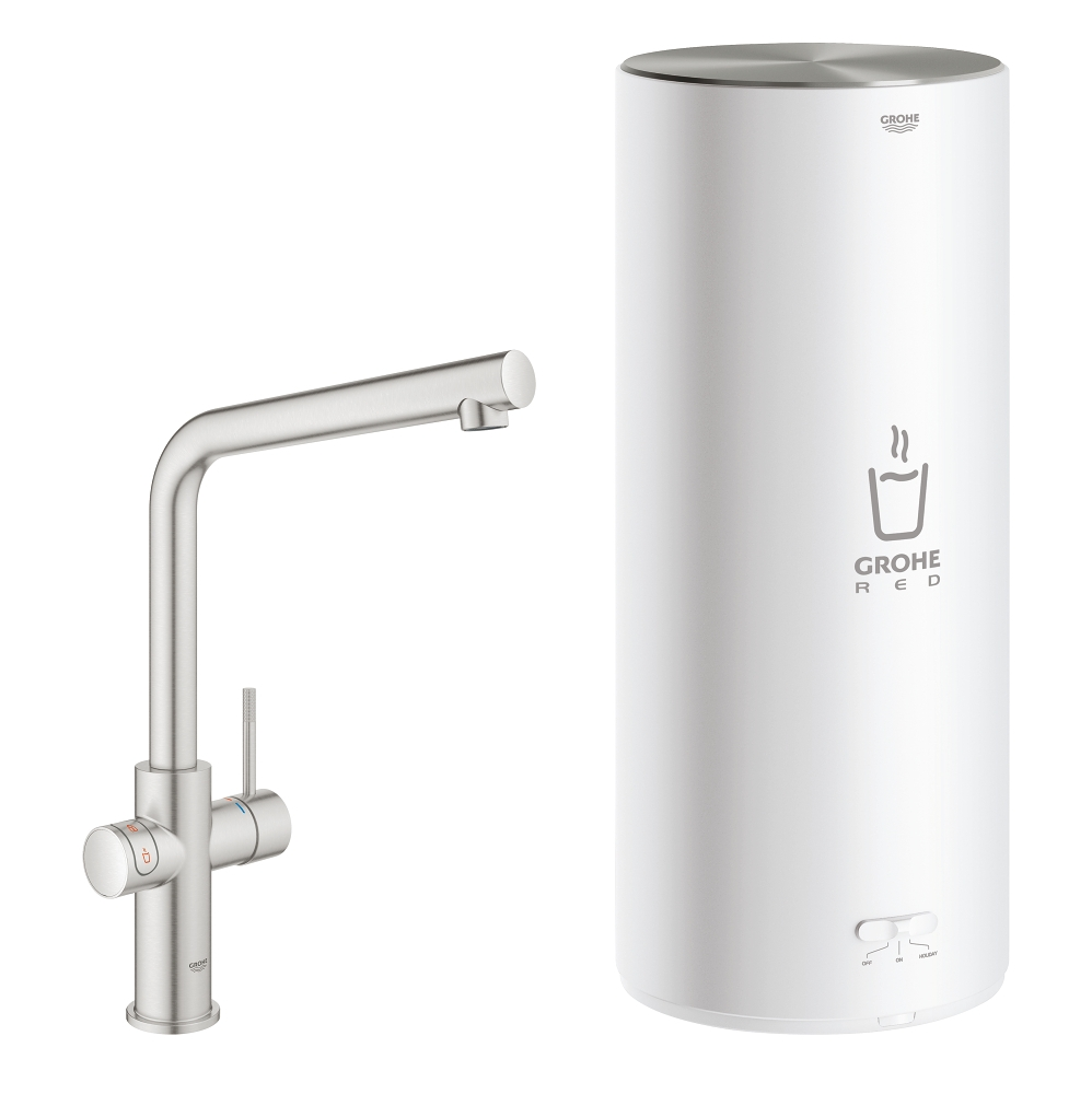 Grohe Red New Duo kokend water kraan met L uitloop en L formaat boiler RVS