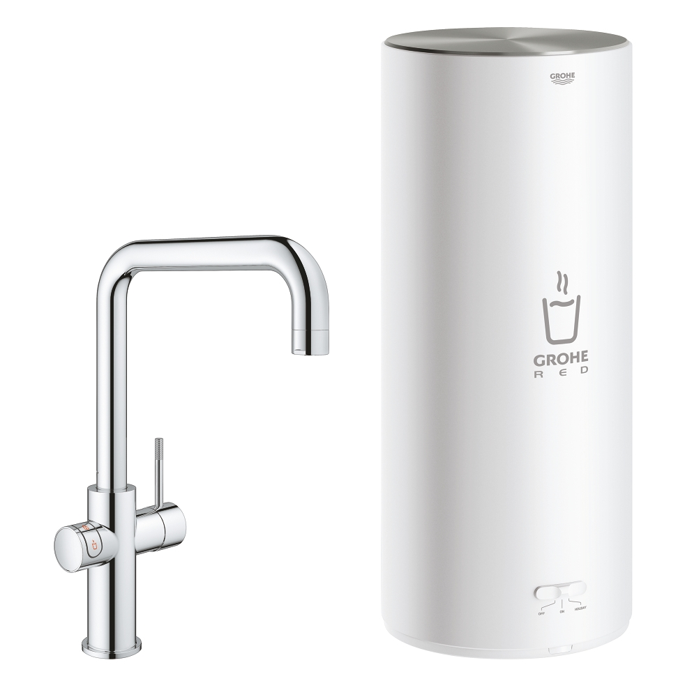 Grohe Red New Duo kokend water kraan met U uitloop en L formaat boiler chroom