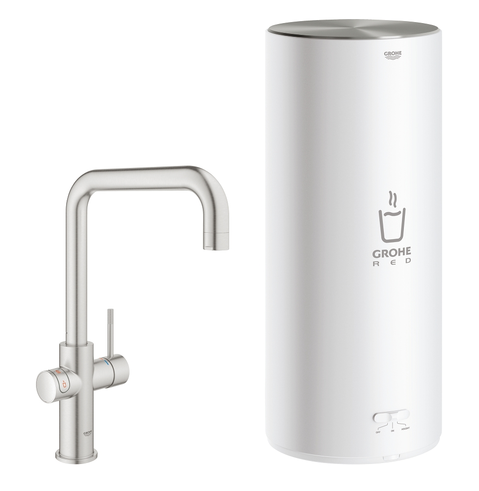 Grohe Red New Duo kokend water kraan met U uitloop en L formaat boiler RVS