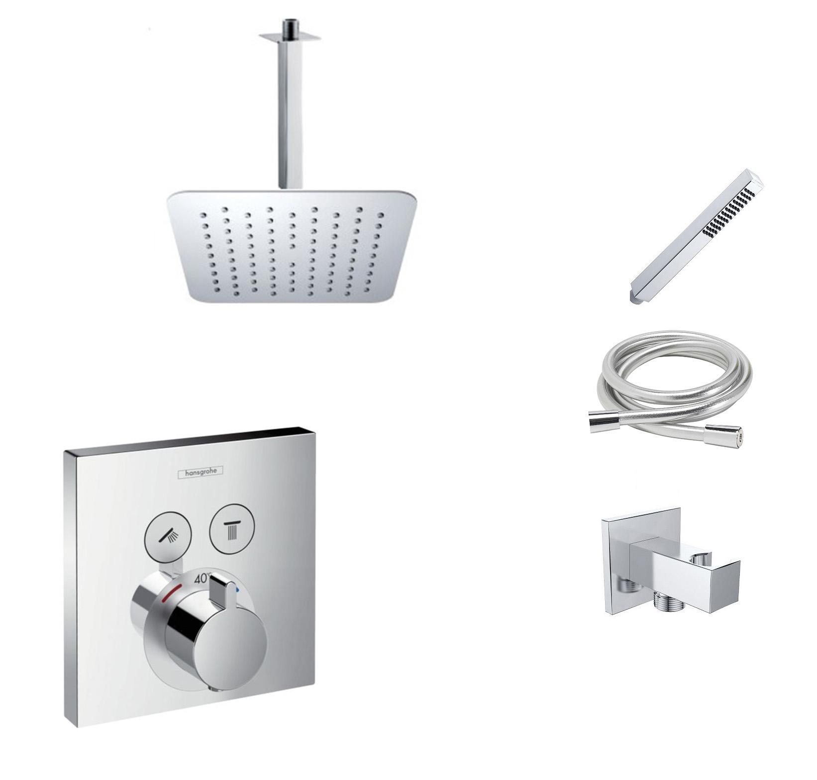 Hansgrohe Shower Select inbouw doucheset met 30cm douchekop en plafondarm chroom