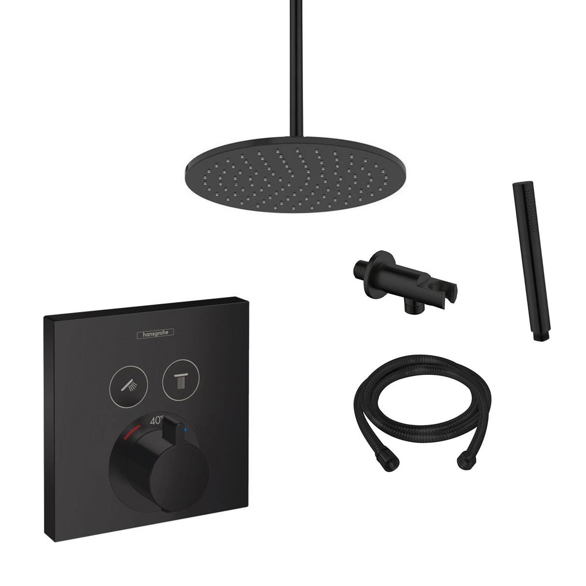 Hansgrohe Shower Select inbouw doucheset met 30cm douchekop en plafondarm zwart