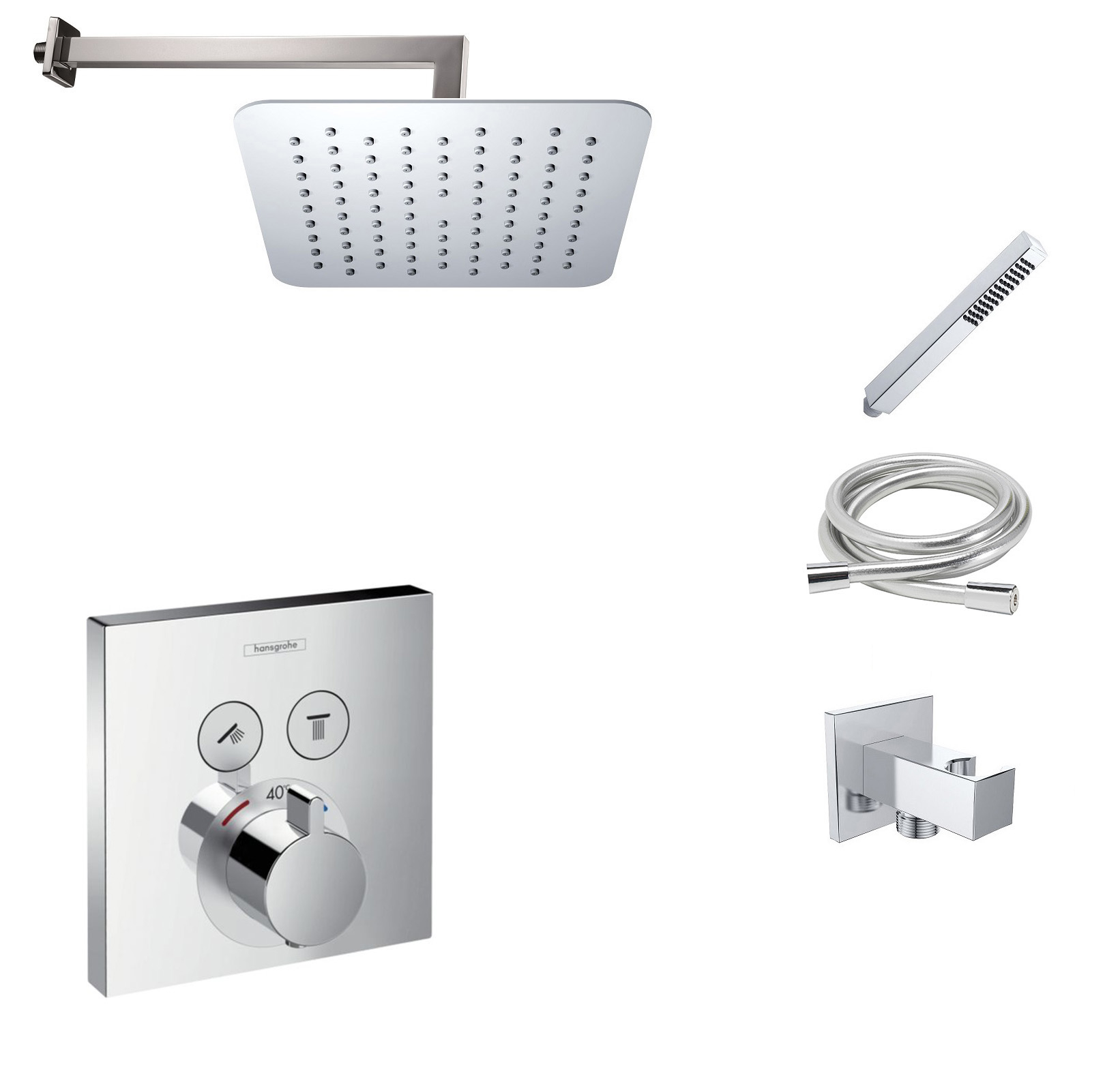 Hansgrohe Shower Select inbouw doucheset met 30cm douchekop en wandarm chroom