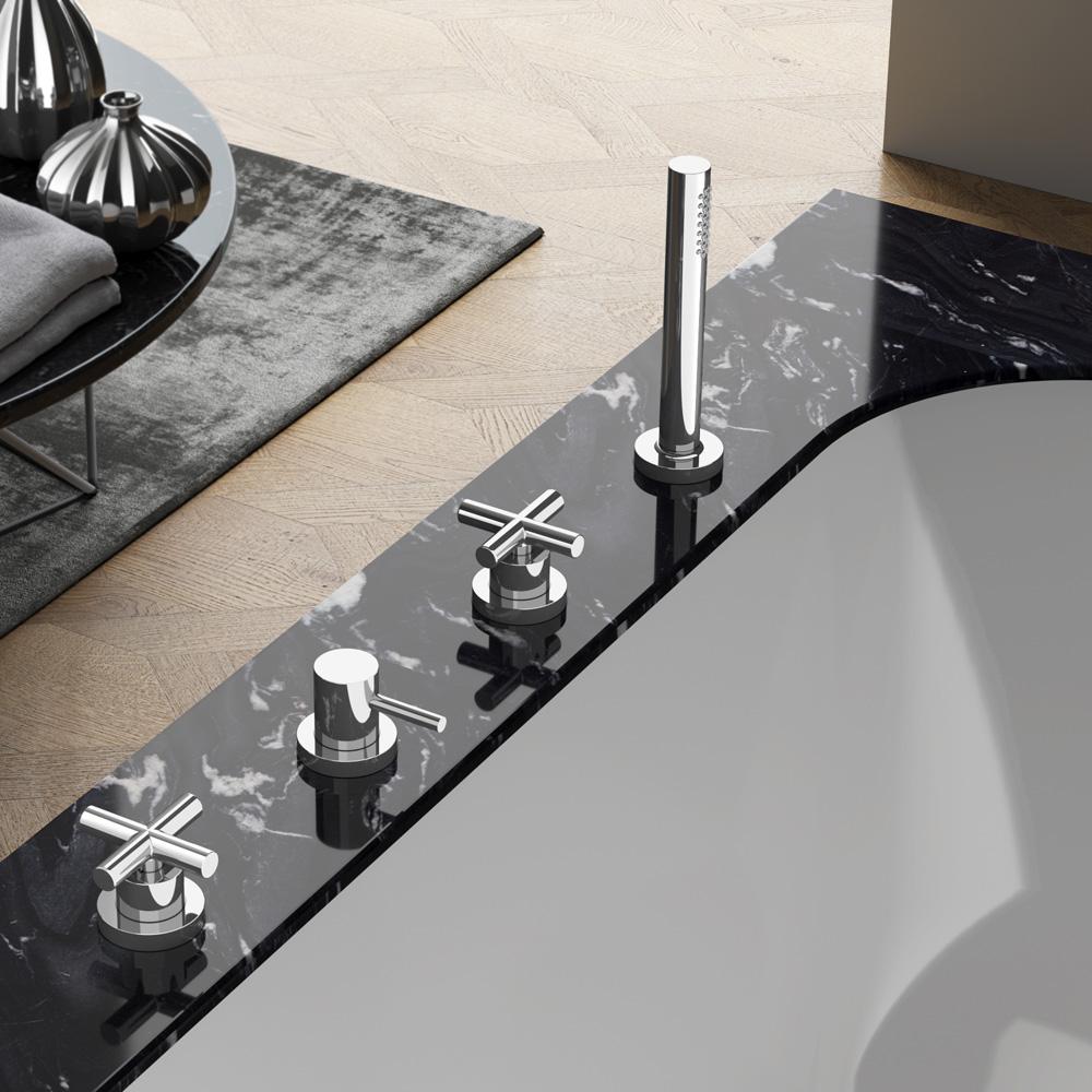 Hotbath Chap badrandcombinatie mengkraan zonder uitloop geborsteld nikkel