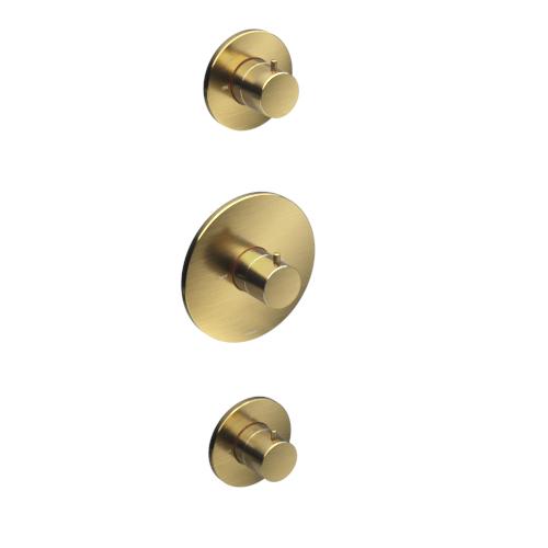 Hotbath Cobber Afbouwdeel Thermostaat met 2 stopkranen Geborsteld Messing CB007