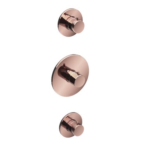 Hotbath Cobber Afbouwdeel Thermostaat met 2 stopkranen Rosé Goud CB007