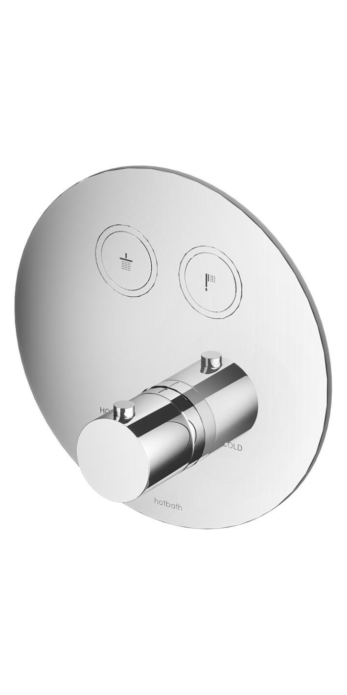 Hotbath Cobber Afbouwdeel thermostaat Rond met 2 push buttons Gepolijst Messing PVD PB009