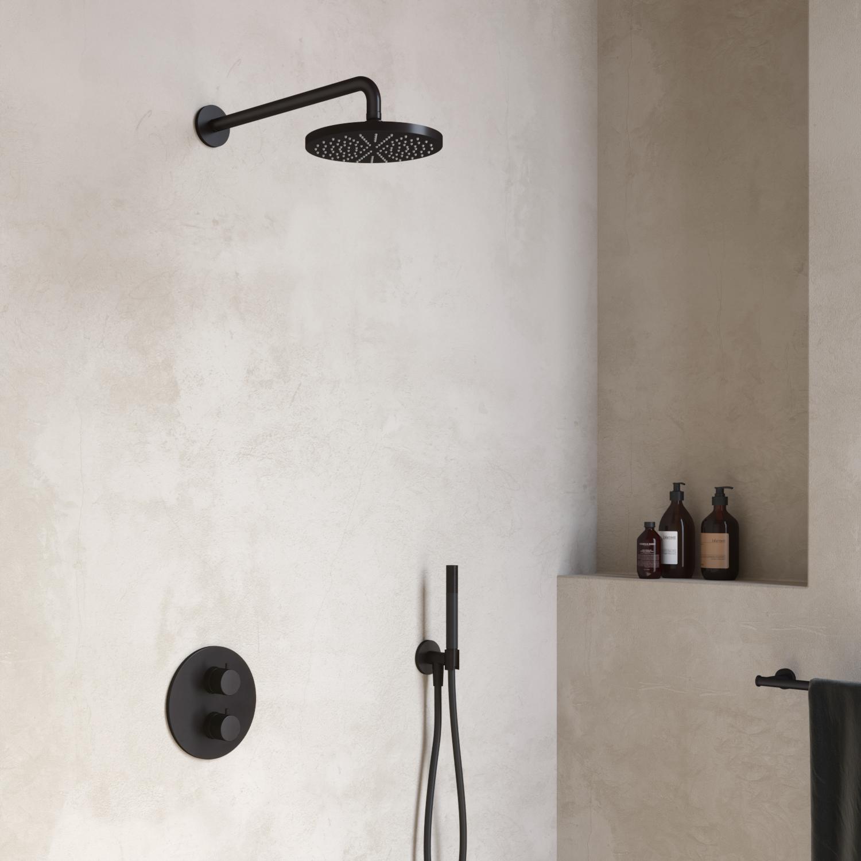 Hotbath Cobber Complete Thermostatische Douche Inbouwset Geborsteld Nikkel IBS20A